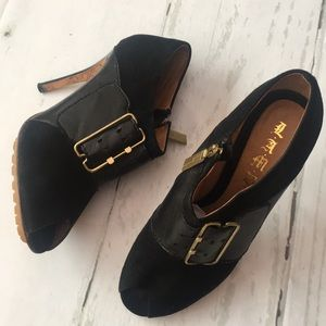 L.A.M.B Black Open Toe Heel